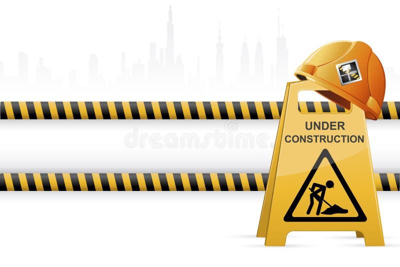 Hard hat on Under Construction Signboard vector illustration