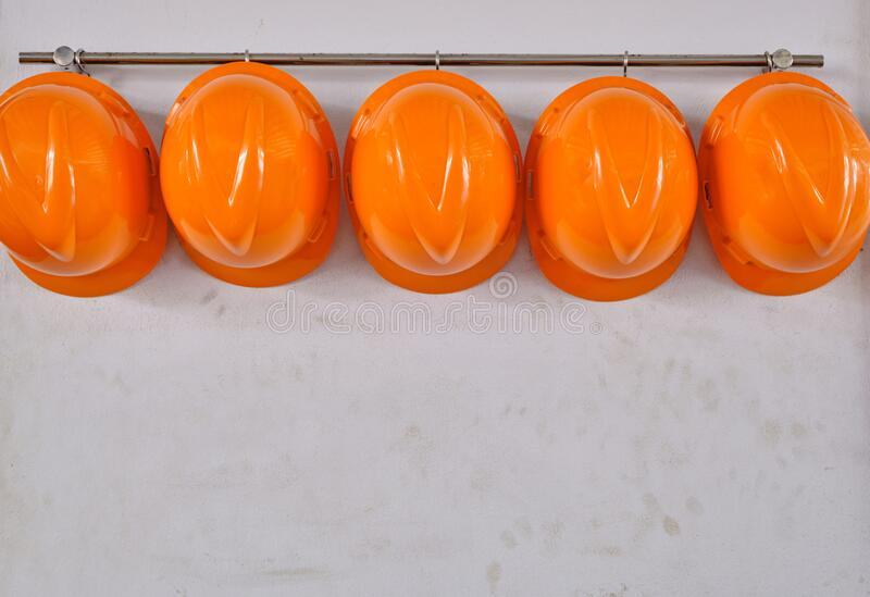 Hard Hat Hanging On White Wall Stock Photo Image Of