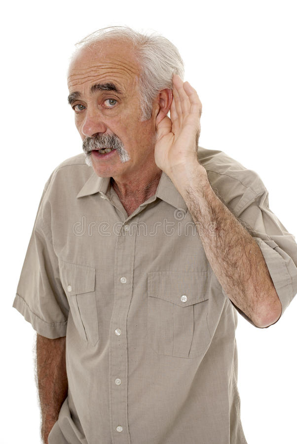 Hard of hearing senior royalty free stock photography