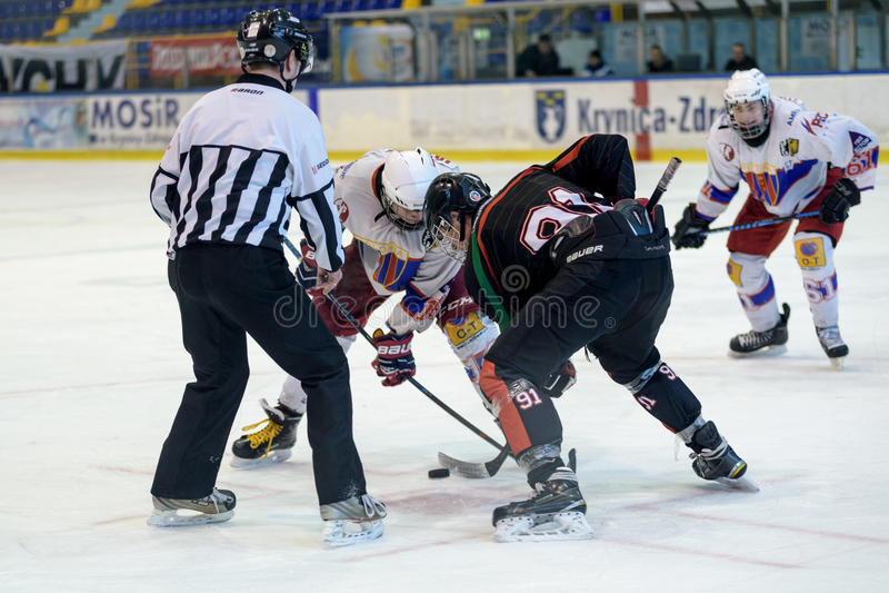 Hard hockey game stock photo