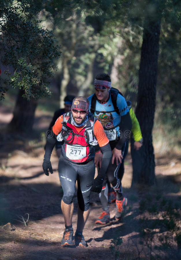 Hard marathon mountain race, group climbing. CASTELLON - FEBRUARY 24: Raul Belinchon Hueso (number 277) leads group in his participation in XV Edition of Espadan royalty free stock image