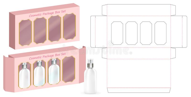 Hard paper box for 4 cosmetic bottle template royalty free illustration