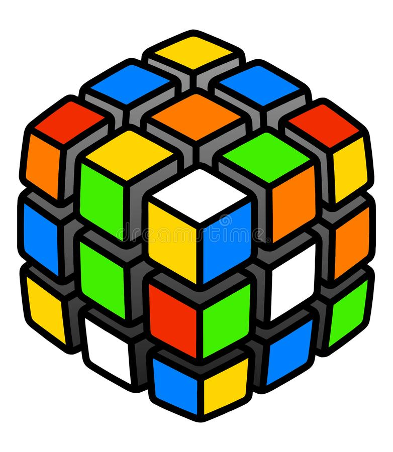 Hard problem Mixed unsolved cube multicolored 3d illustration isolated on white royalty free illustration