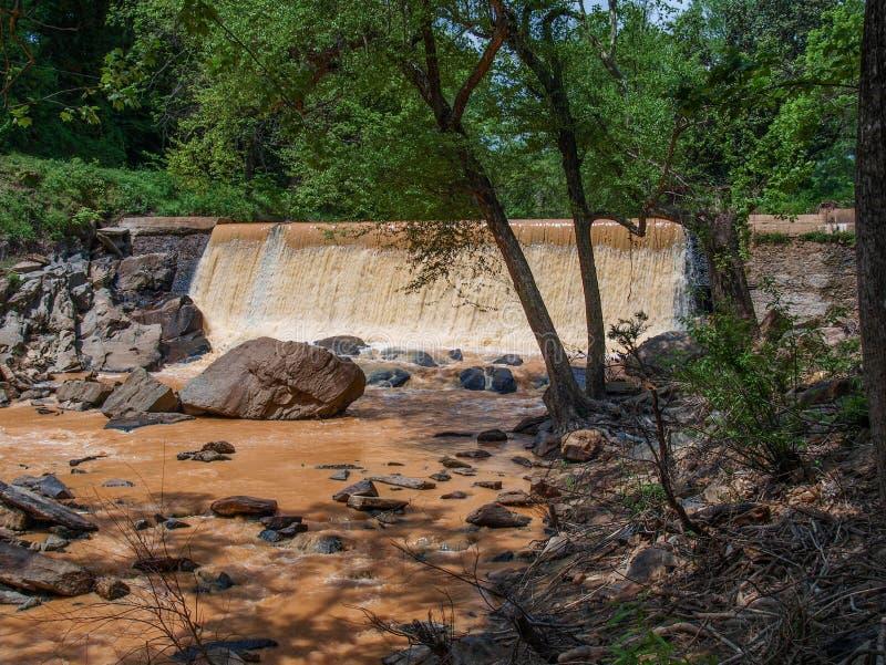 Dam along Elkin & Alleghany Rail Trail royalty free stock photo