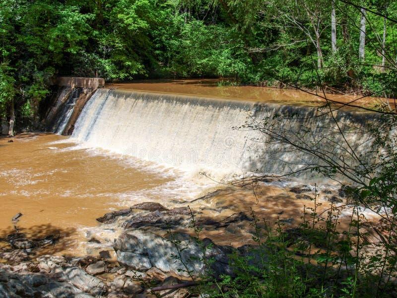 Dam along Elkin & Alleghany Rail Trail stock image