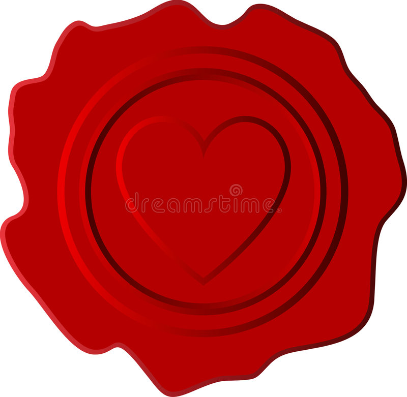 Hard red wax. Vector red wax with heart symbol vector illustration