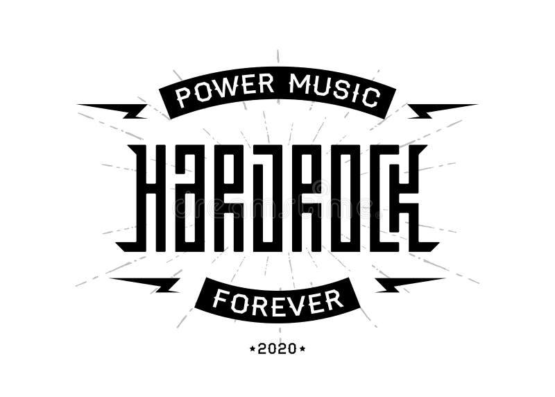 Hard Rock badge - original lettering with lightnings, music vector illustration stock illustration