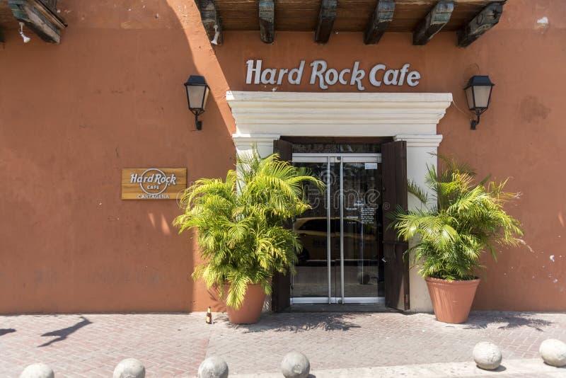 Hard Rock Cafe, città Cartagine Colombia di Plaza de la Aduana Old immagine stock libera da diritti
