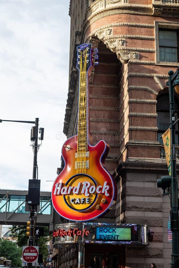 Hard rock cafe in Philadelphia. Hard rock cafe on the corner of Philadelphia street. This is a famous rock restaurant stock image