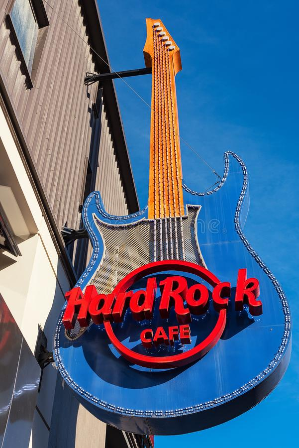 Hard Rock Cafe firma adentro Ushuaia, la Argentina foto de archivo