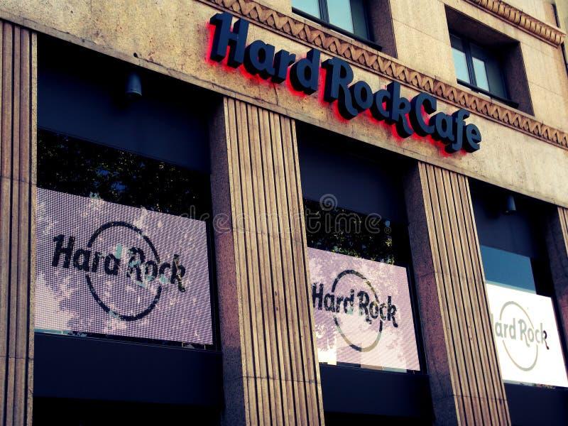 Hard Rock Cafe i Barcelona fotografering för bildbyråer