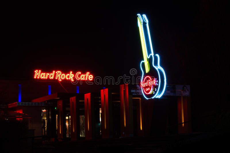 Hard Rock Cafe la nuit images libres de droits
