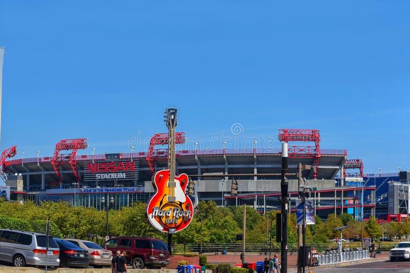 Hard Rock Cafe logo and Nissan Stadium in Nashville, TN, USA royalty free stock image