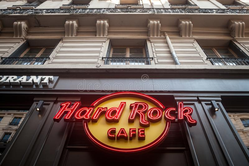 Hard Rock Cafe logo on their restaurant in Lyon. Hard Rock Cafe is a chain of American music theme restaurants spread worldwide stock images