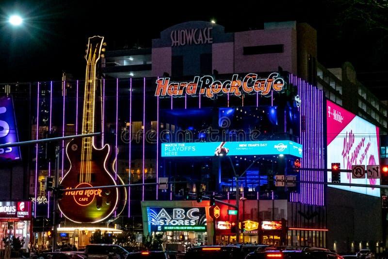Hard Rock Cafe, nightime, Las Vegas Boulevard, décembre 2018 photo libre de droits