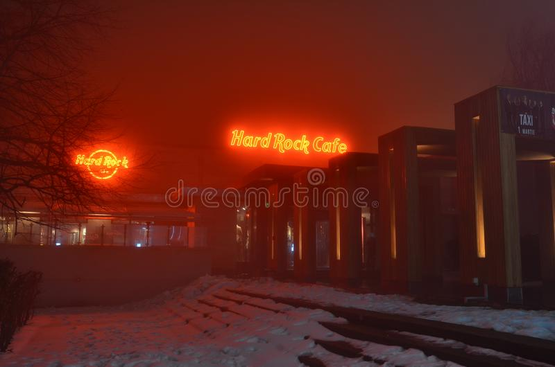 Hard- Rock Caferote Neonlichter lizenzfreies stockfoto