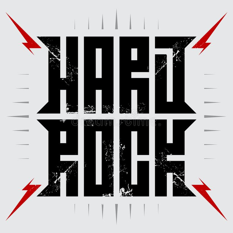 Hard rock - cartaz da música com relâmpagos vermelhos Hardrock - t-shirt ilustração stock