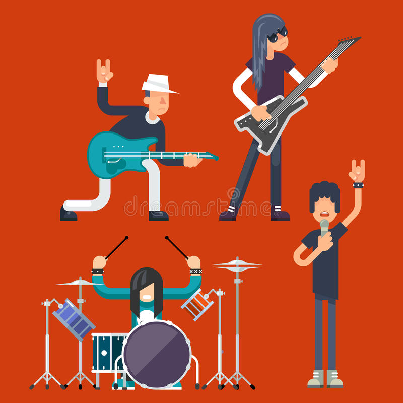 Hard Rock Heavy Folk Group Band Music Icons Guitarist Singer Bassist Drummer Concept Flat Design Vector Illustration. Hard Rock Heavy Folk Group Band Music Icons stock illustration