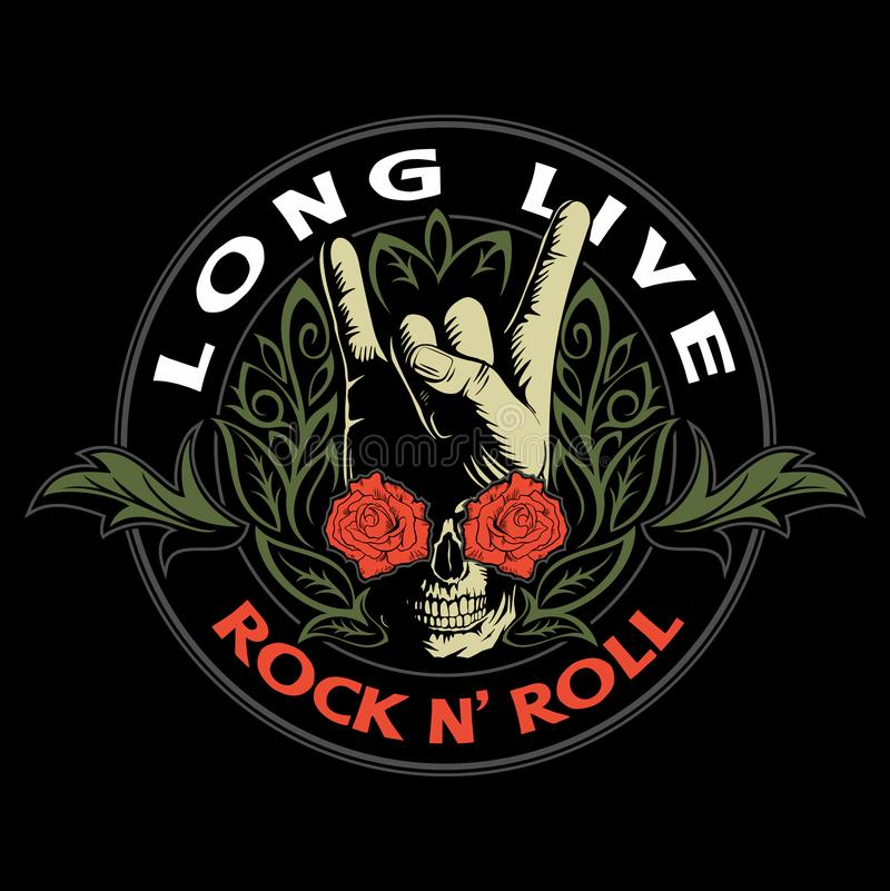 Hard rock, heavy metal, sign of the horns, rock sign hand with the skull, roses and ornaments, rock vector logo. vector illustration