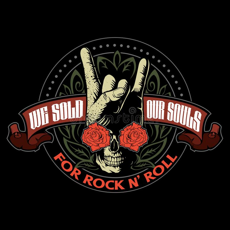 Hard rock, heavy metal, sign of the horns, rock sign hand with the skull, roses and ornaments, rock vector logo. Hard rock, heavy metal, sign of the horns, rock royalty free illustration