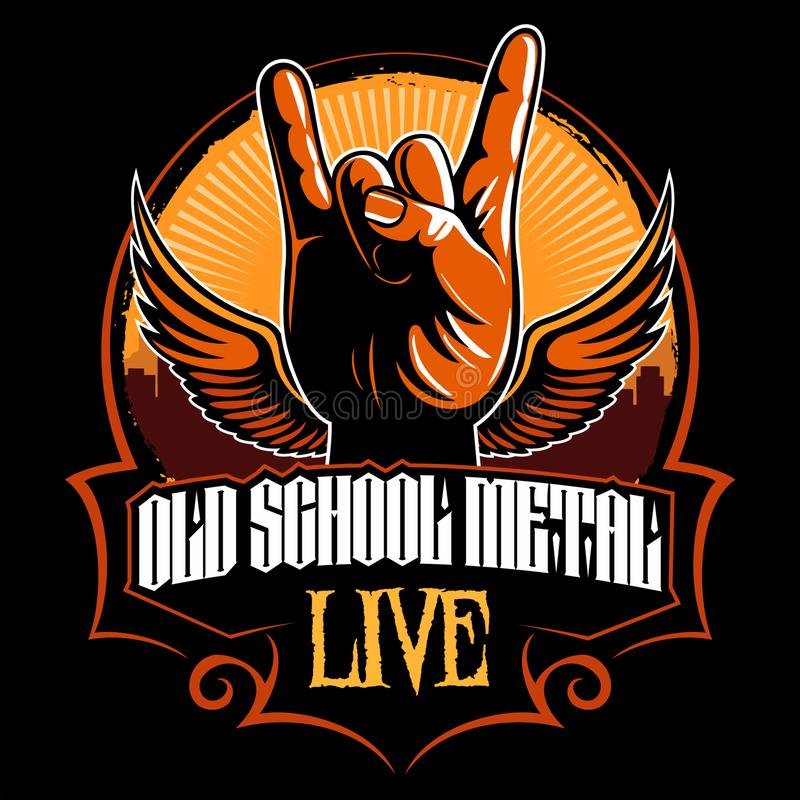 Hard rock, heavy metal, sign of the horns, rock sign hand with the wings, rock vector logo. vector illustration