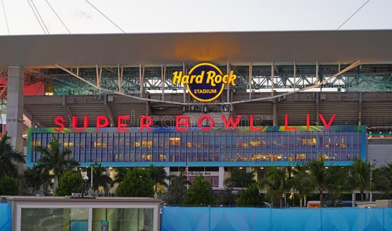 The Hard Rock Stadium di Miami, sede della Superbowl LIV 54 del 2020 fotografia stock libera da diritti