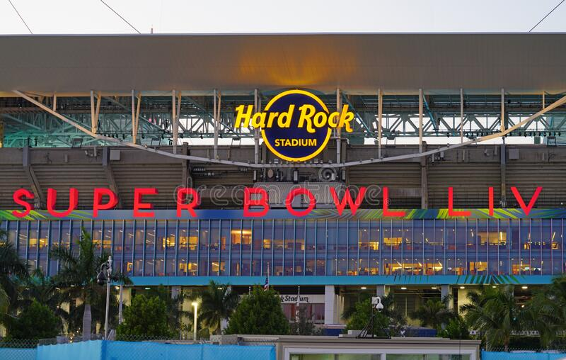 The Hard Rock Stadium di Miami, sede della Superbowl LIV 54 del 2020 fotografia stock