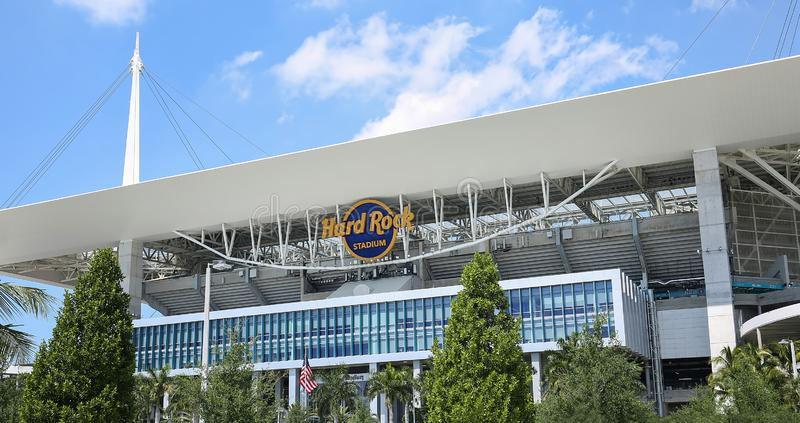 Hard Rock Stadium. MIAMI GARDENS, FLORIDA, USA:  Close up of the Hard Rock Stadium, the Hard Rock will be the venue for the 54th Super Bowl as seen on March 27 royalty free stock photography
