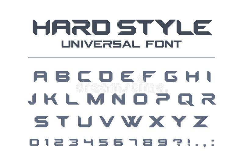Hard style universal font. Military, army, sport, futuristic technology, future techno alphabet. vector illustration