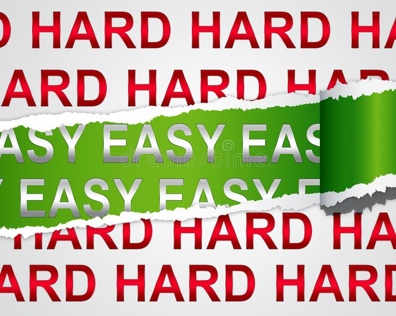 Hard Vs Easy Paper Represents Tough Choice Versus Difficult Problem - 3d Illustration. Hard Vs Easy Paper Represents Tough Choice Versus Difficult Problem royalty free illustration