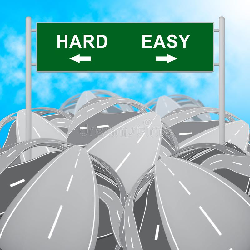Hard Vs Easy Sign Represents Tough Choice Versus Difficult Problem - 3d Illustration. Hard Vs Easy Sign Represents Tough Choice Versus Difficult Problem royalty free illustration
