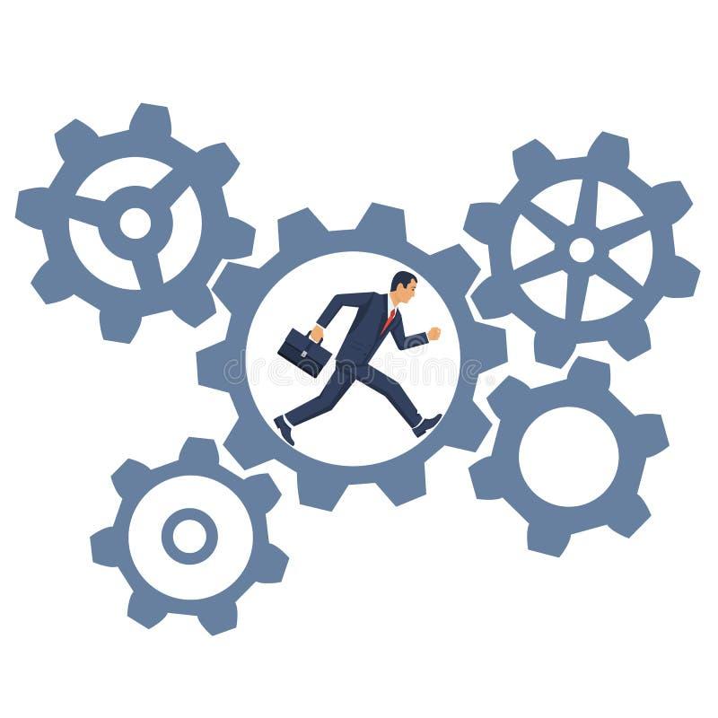 Hard work concept. Businessman running inside gear mechanism. Business mechanism system. Vector illustration flat design. on white background. Rotate cogwheel vector illustration