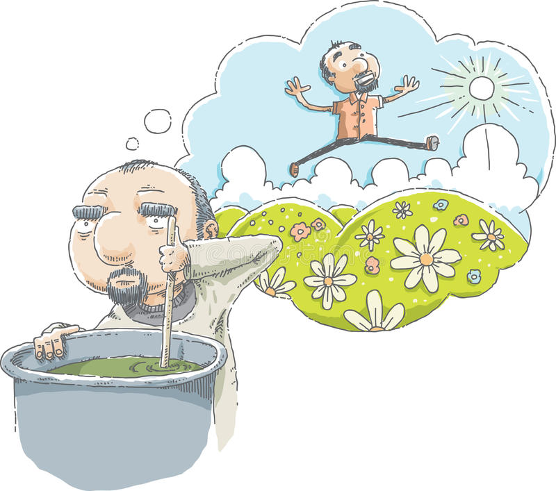 Hard Work Daydream. A cartoon man daydreams about green hills and a sunny day while he works at a dismal, hard job royalty free illustration