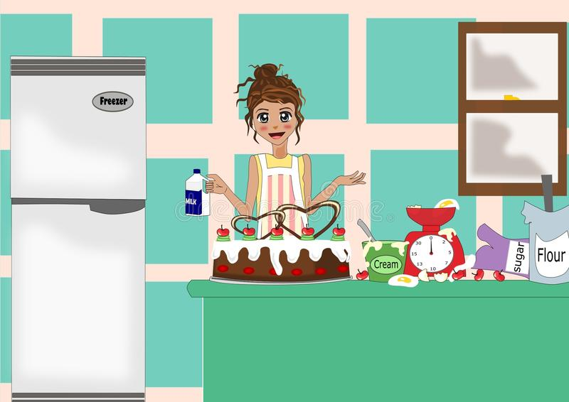 Hard work in kitchen. Baking for your love ones is hard work. This is how to picure it, pretty cake with messy table but the results is delicious and pretty royalty free illustration