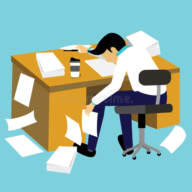 Hard work and lazy businessman. Flat vector style stock illustration