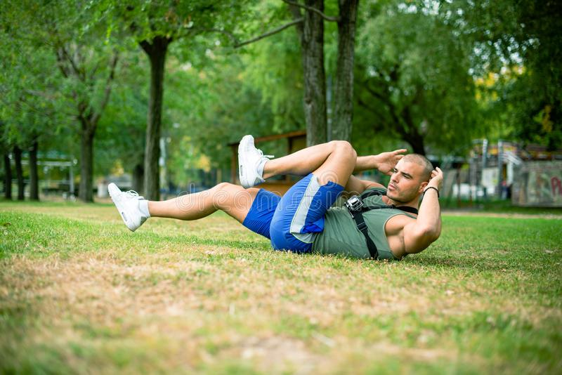 Hard work out in park stock photography