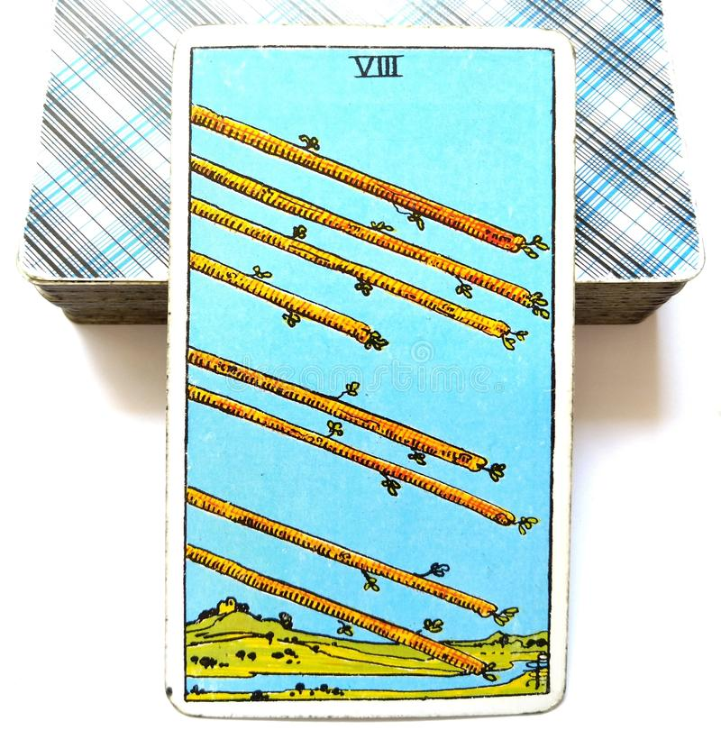 8 Eight of Wands Tarot Card Speed Action Movement Activity Haste Hurry Rush Race Momentum. Hard Work Paying Off Completion Conclusion Solutions Results Hitting vector illustration