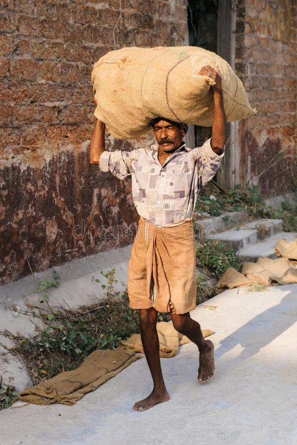 Hard work at spice factory in Kochi, India. Kochi, India - January 16, 2016: Barefooted indian man carrying sack of spices on his head on the streets of old city royalty free stock photo