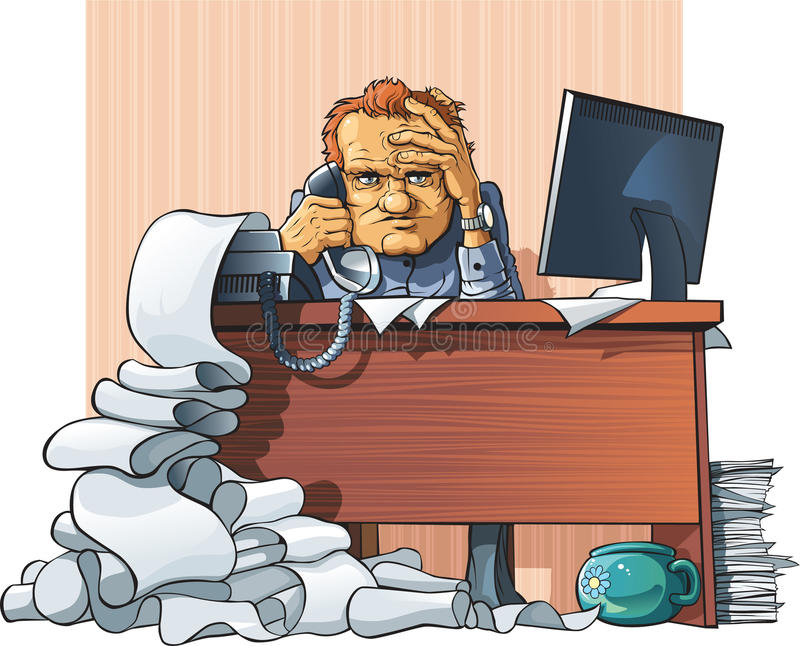 Hard workday of office employee. Tired and cruel office employee sits sit at the worker table, get the fax and speaks on telephone. Around it horrible disorder vector illustration