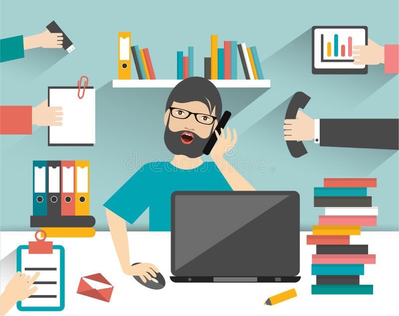Hard working business man. vector illustration