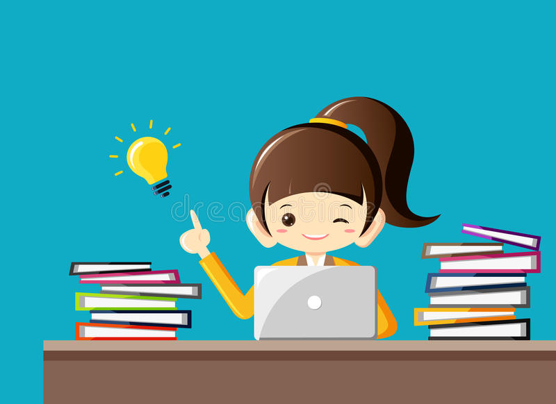 Hard working businesswoman gets an idea with light bulb at office desk with a lot of work.Business Concept royalty free illustration