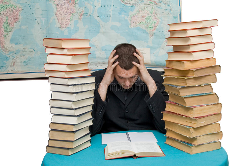 Hard working man. With books isolated stock photo
