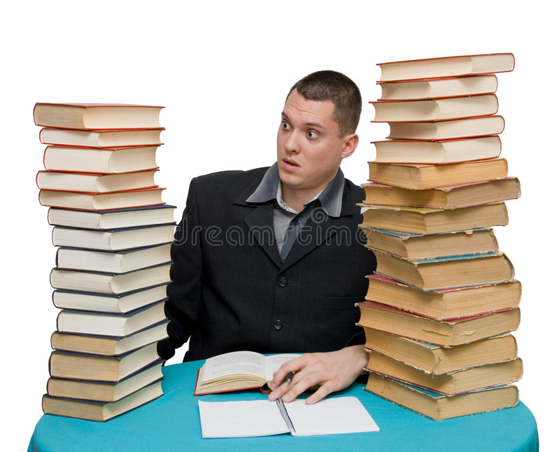 Hard working man. With books isolated royalty free stock photos