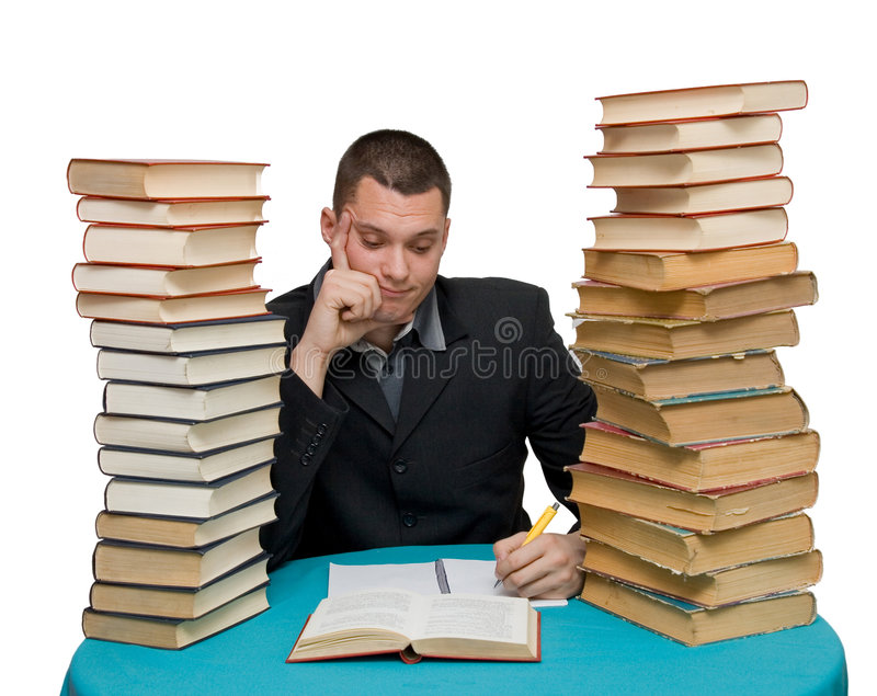 Hard working man. With books isolated royalty free stock photo