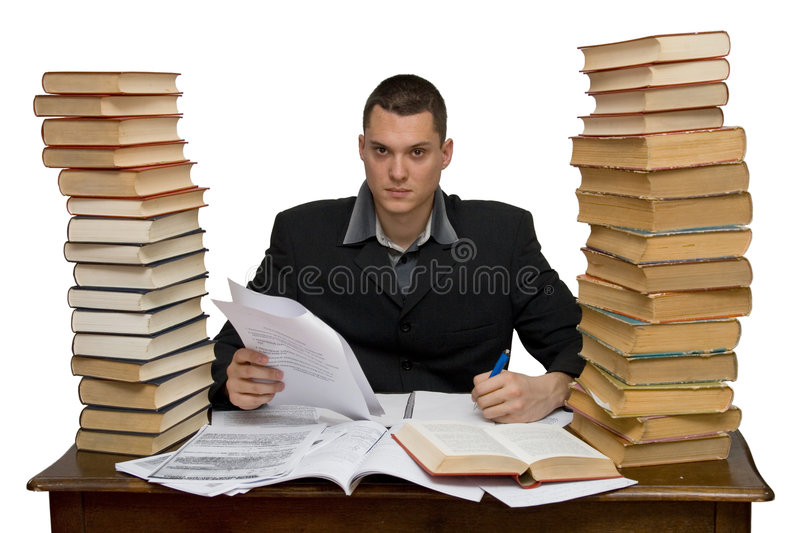 Hard working man. Studio isolated royalty free stock images