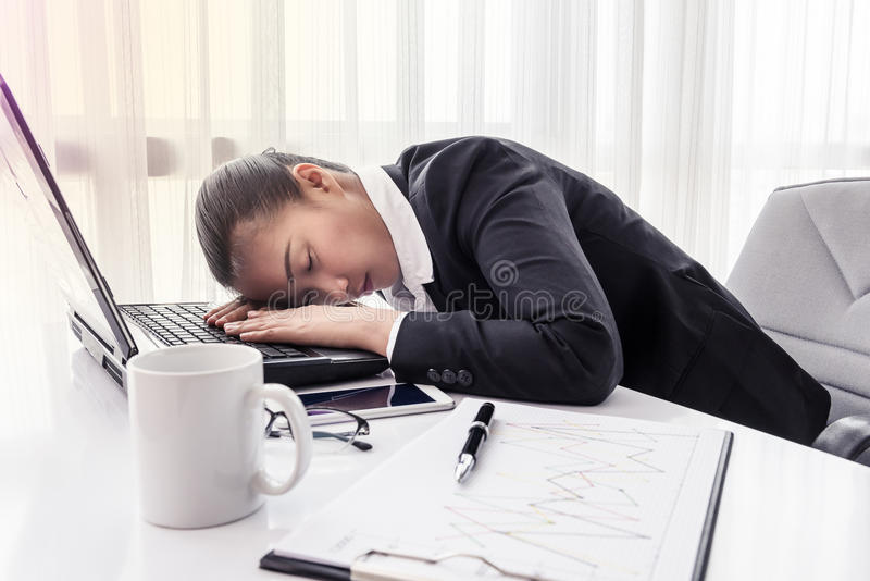 Hard working woman with office files royalty free stock images