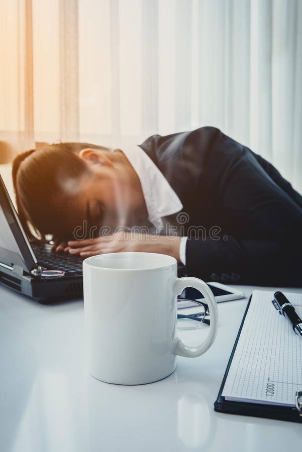 Hard working woman with office files royalty free stock photography