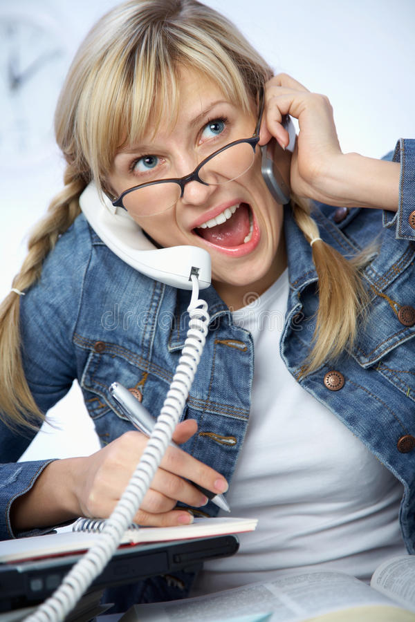 Hard-working Young Blonde Stock Image