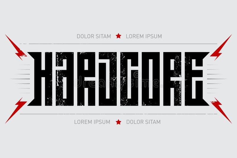 Hardcore - affiche de musique Noyau dur - conception de T-shirt avec le lig rouge illustration de vecteur