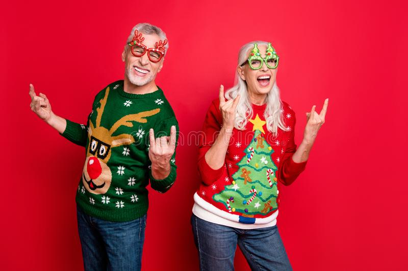 Only hardcore. Born to rock. Let me be crazy. Photo of two excited cheerful carefree punk fans people having fun good stock images